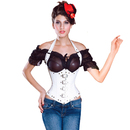 MUKA Burlesque Gothic Shoulder Straps Buckle White Fashion Corset Top, Gift Idea