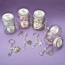 FashionCraft 12636 Sentiment flowers Mason Jar with key ring, 12/Pack