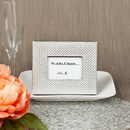 FashionCraft 4786 Silver metallic photo frame or placecard holder with textured leatherette diamond finish