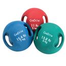 CanDo 10-3287 CanDo Molded Dual Handle Medicine Ball - 19.8 lb (9 kg) - Silver