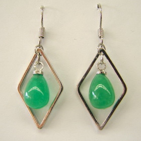 Feng Shui Import Jade Drop Earrings - 1008