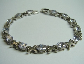 Feng Shui Import Sterling Bracelet w/ Clear Oval Crystals - 1042