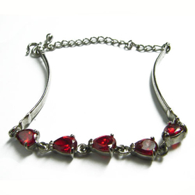 Feng Shui Import Sterling Bracelet w/ Red Heart Crystals - 1045
