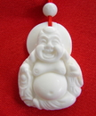 Feng Shui Import White Jade Gemstone Laughing Buddha Necklace - 2171