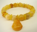 Feng Shui Import Yellow Topaz Birthstone Bracelets with Buddha Pendant - 2211