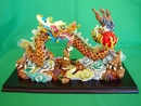 Feng Shui Import Colorful Dragon Statue Chasing Fire Ball - 259