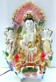 Feng Shui Import Sitting Kwan Yin with Lights - 26