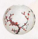 Feng Shui Import 2 of Chinese White Paper Lanterns with Plum Pictures - 2869