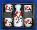Feng Shui Import Ceramic White Japanese Saki Set with Red Plum Pictures - 2912