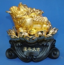 Feng Shui Import Golden Money Frog Statue Sitting on Lotus - 2934