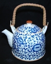 Feng Shui Import Blue Teapot w/ Flower Pictures - 2965