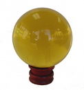 Feng Shui Import Yellow Crystal Ball with wooden stand  - 4537