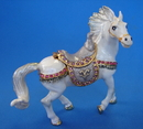 Feng Shui Import White Bejeweled Horse Statue - 4635