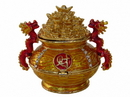 Feng Shui Import Bejeweled Wealth Pot with Dragons - 4639