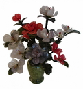 Feng Shui Import Jade Peony Bouquet with Vase - 4642