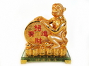 Feng Shui Import 4726 Golden Monkey Statue with Feng Shui Coin