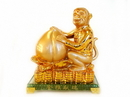 Feng Shui Import 4729 Golden Monkey Statue with Feng Shui Peach