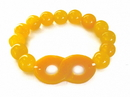 Feng Shui Import 4737 Orange Color Jade Beaded Bracelet with Infinity Symbol