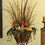 Floral Home Decor Feather, Grasses and Lotus Pods Tall Floral Arrangement  NC137