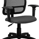 Flash Furniture WL-A277-GY-A-GG Contemporary Mesh Task Chair - Gray Fabric Seat, Arms