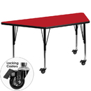 Flash Furniture XU-A2448-TRAP-RED-H-P-CAS-GG Mobile 24''W x 48''L Trapezoid Activity Table with 1.25'' Thick High Pressure Red Laminate Top and Height Adjustable Pre-School Legs