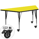Flash Furniture XU-A2448-TRAP-YEL-H-P-CAS-GG Mobile 24''W x 48''L Trapezoid Activity Table with 1.25'' Thick High Pressure Yellow Laminate Top and Height Adjustable Pre-School Legs