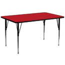 Flash Furniture XU-A3072-REC-RED-H-A-GG 30''W x 72''L Rectangular Activity Table with 1.25'' Thick High Pressure Red Laminate Top and Standard Height Adjustable Legs