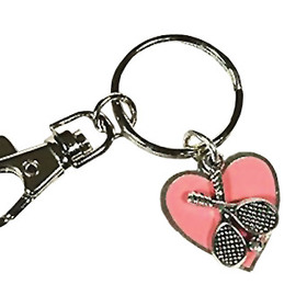 Fth Wholesale TENN15-4 Pink Heart Tennis Keychain