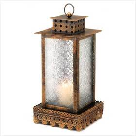Gifts & Decor 12056 Lacy Trim Ornate Glass Panels Kyoto Candle Lantern