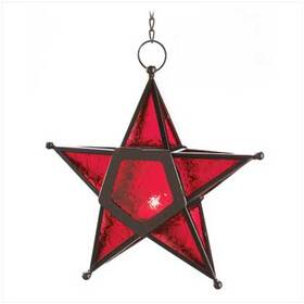 Gifts & Decor 12288 Red Glass Star Lantern Hanging Candle Holder Christmas