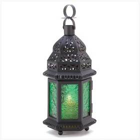 Furniture Creations 13244 Green Glass Moroccan Candle Holder Hanging Lantern