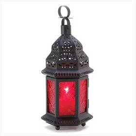 Gifts & Decor 13245 Red Glass Metal Moroccan Candle Holder Hanging Lantern
