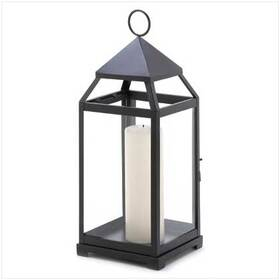 Gifts & Decor 13347 Large Contemporary Hanging Metal Candle Holder Lantern
