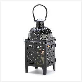 Gifts & Decor 13359 Black Medallion Candle Holder Hanging Lantern Decor