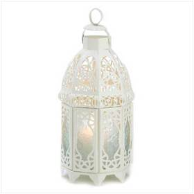 Gifts & Decor 13364 White Lattice Hanging Candle Holder Lantern Centerpiece