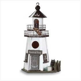 Furniture Creations 30208 Nautical Nest Wood Lighthouse Birdhouse Bird House