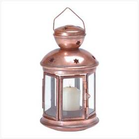 Gifts & Decor 31132 Burnished Colonial Candle Lamp Holder Lantern Light