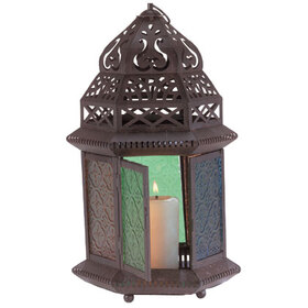 Gifts & Decor 33144 Moroccan Metal Color Glass Table Top Tabletop Lantern, Price/EA