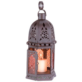Gifts & Decor 33145 Moroccan Metal Amber Glass Candleholder Lantern Light