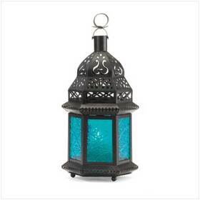 Gifts & Decor 37438 Moroccan Lantern Blue Glass Candle Holder Candleholder