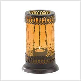 Gifts & Decor 37934 Standing Amber Glass Moroccan Lantern Candle Holder