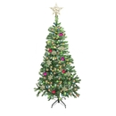 ALEKO CTD84H300MC 7 Foot (2.1 m) Artificial Christmas Tree With Multicolored 300 LED Lights, Simple Green color
