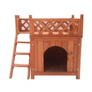 ALEKO DH28X20X25WD Luxurious Cedar Wooden Dog Kennel with Side Steps and Balcony 28 X 20 X 25 Inches (0.7 X 0.5 X 0.6 m)