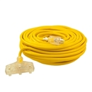 ALEKO ECOI12G3O100FT ETL Heavy Duty 100 Foot (30.5 m) Extension Cord SJTW Triple Tap Lighted Plug 12/3 Gauge, Yellow