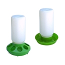 ALEKO PDR001PFD002 Set of Water Drinker Container and Feeder Pan for Birds, Green and White