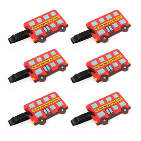 Luggage Tag, Bus Shaped with Identification Card, Christmas Gift, Price/6 Pcs