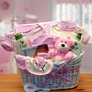 Gift Basket 890551-P Deluxe Organic New Baby Gift Basket - Pink