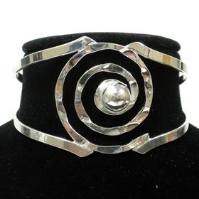 Global Crafts MJBZ14_SP_219002 Silver Hammered Spiral Cuff Bracelet