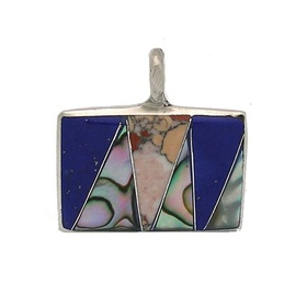 Global Crafts MJPSR1_208003 Mother of Pearl and Polished Stone Pendant