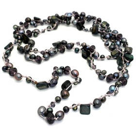 Global Crafts YJPNS2_207009 Handknotted Black Freshwater Pearl Necklace with Purple Accents